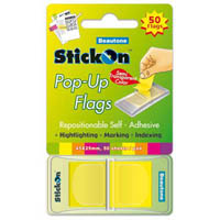 STICK ON POP UP FLAGS 50 SHEETS 45 X 25MM LEMON