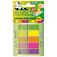 STICK ON POP UP FLAGS 40 SHEETS 45 X 25MM ASSORTED PACK 5