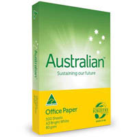AUSTRALIAN A3 BRIGHT WHITE COPY PAPER 80GSM WHITE PACK 500 SHEETS