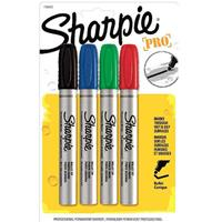 SHARPIE PRO METAL PERMANENT MARKER BULLET BROAD 4.0MM ASSORTED PACK 4