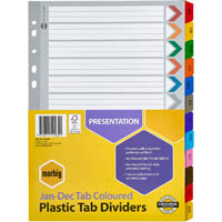 MARBIG INDEX DIVIDER MANILLA JAN-DEC TAB A4 ASSORTED