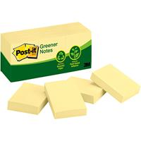 POST-IT 653-RP 100% RECYCLED GREENER NOTES 35 X 48MM YELLOW PACK 12