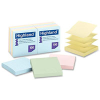 HIGHLAND 6549-PUA POP-UP NOTES 76 X 76MM PASTEL PACK 12