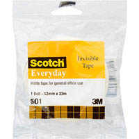 SCOTCH 501 EVERYDAY INVISIBLE TAPE 12MM X 33M WRAPPED