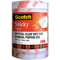 SCOTCH 500 EVERYDAY STICKY TAPE 24MM X 66M BULK PACK 6