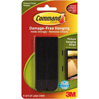 COMMAND PICTURE HANGING STRIPS LARGE BLACK PACK 4 PAIRS