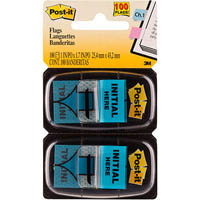 POST-IT 680-IH2 MESSAGE FLAGS INITIAL HERE BLUE TWIN PACK 100