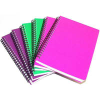 CUMBERLAND COLOURED NOTEBOOK SPIRAL BOUND FEINT RULED 100 LEAF A5 BRIGHT ASSORTED