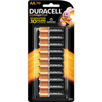 DURACELL COPPERTOP ALKALINE AA BATTERY PACK 10
