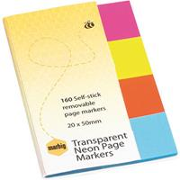 MARBIG NOTES TRANSPARENT NEON PAGE MARKERS 160 SHEET 20 X 50MM ASSORTED