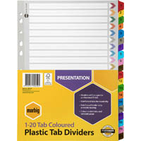 MARBIG INDEX DIVIDER MANILLA 1-20 TAB A4 ASSORTED
