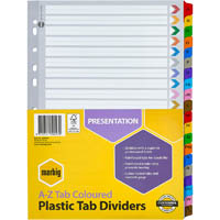 MARBIG INDEX DIVIDERS A-Z TAB REINFORCED A4 ASSORTED