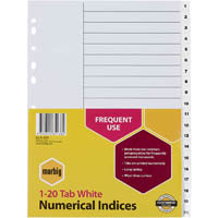 MARBIG INDEX DIVIDER PP 20 TAB A4 WHITE