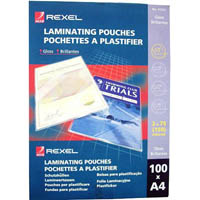 REXEL LAMINATING POUCH 75 MICRON A4 CLEAR PACK 100