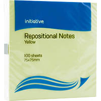 INITIATIVE REPOSITIONAL NOTES 75 X 75MM YELLOW PACK 12