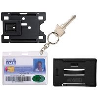 REXEL CARD HOLDER 90 X 65MM PLUS 25MM KEY RING PACK 2