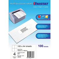UNISTAT 38930 MULTI-PURPOSE LABEL 4UP 105 X 148MM WHITE PACK 100