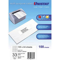 UNISTAT 38931 MULTI-PURPOSE LABEL 33UP 70 X 25MM WHITE PACK 100