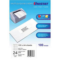 UNISTAT 38933 MULTI-PURPOSE LABELS 24UP 70 X 36MM WHITE PACK 100