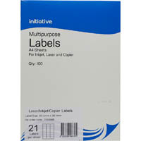 INITIATIVE MULTIPURPOSE LABELS 21UP 63.5 X 38.1MM PACK 100