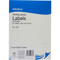 INITIATIVE MULTIPURPOSE LABELS 65UP 38.1 X 21.2MM PACK 100