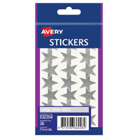 AVERY 932354 MERIT STAR STICKERS 21MM SILVER PACK 36