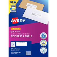 AVERY 936059 J8157 QUICK PEEL ADDRESS LABEL WITH SURE FEED INKJET 33UP WHITE PACK 25