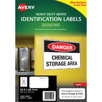 AVERY 959064 L7060 HEAVY DUTY LASER LABELS WHITE 21UP PACK 25