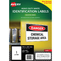 AVERY 959067 L7067 HEAVY DUTY LASER LABELS WHITE 1UP PACK 25