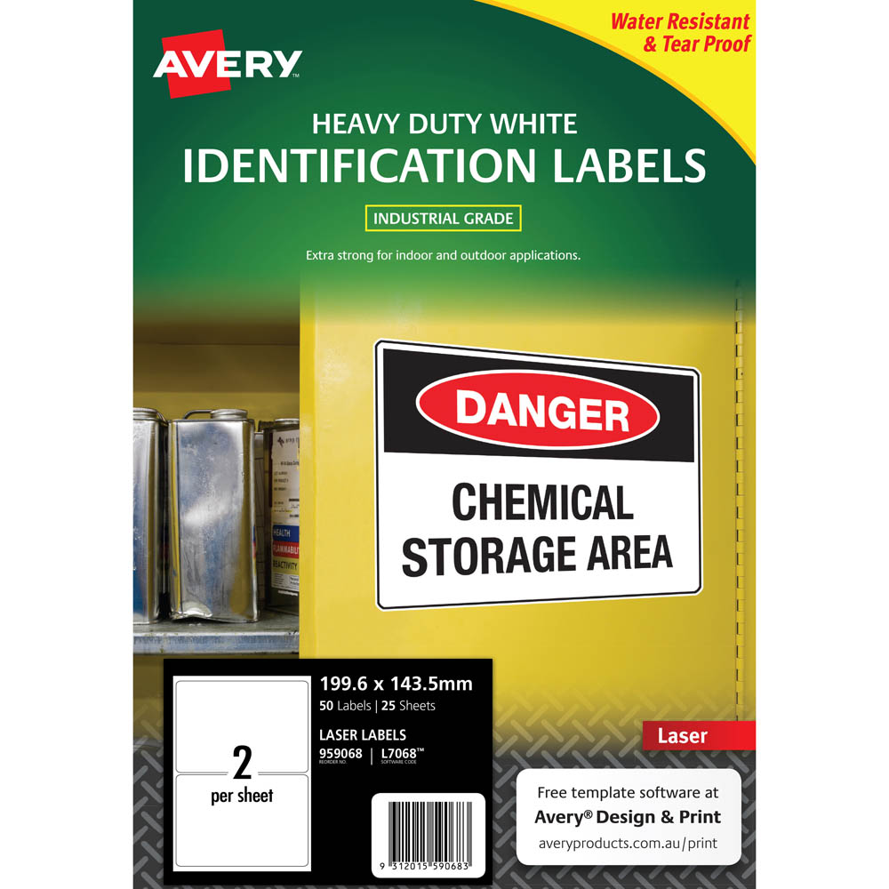 Image for AVERY 959068 L7068 HEAVY DUTY LASER LABELS 2UP WHITE PACK 25 from Angleton's Office Products Depot