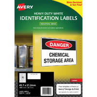 AVERY 959070 L4778 HEAVY DUTY LASER LABELS 48UP WHITE PACK 25