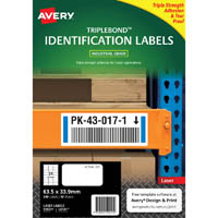 AVERY 959221 EXTRA STRONG TRIPLEBOND LABELS 63.5 X 33.9MM WHITE PACK 10