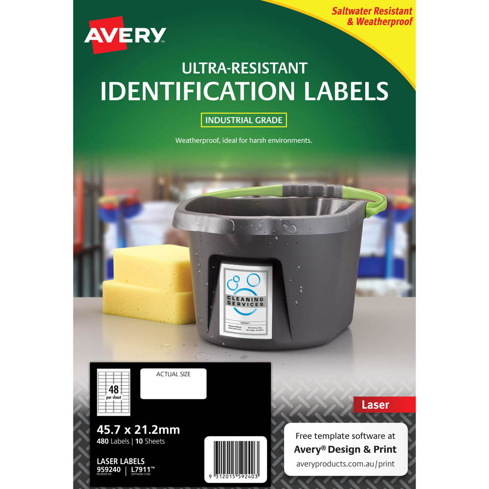AVERY 959240 ULTRA-RESISTANT OUTDOOR LABELS 45.7 X 21.2MM WHITE PACK 10