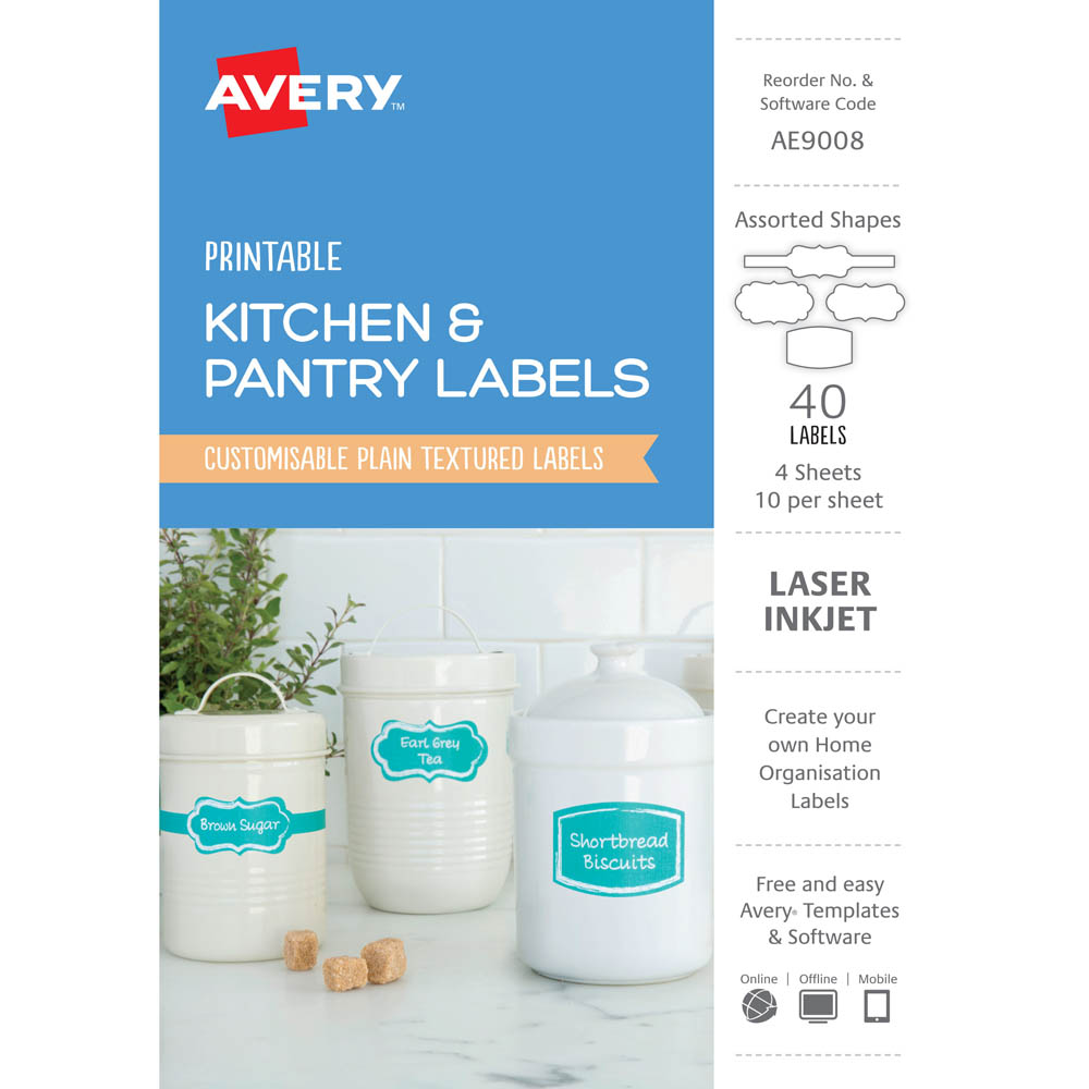 AVERY AE9008 AE9008 PRINTABLE KITCHEN AND PANTRY LABELS