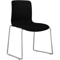 DAL ACTI CHAIR SLED BASE CHROME FRAME FULLY UPHOLSTERED SHELL CHARCOAL FABRIC