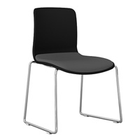 DAL ACTI CHAIR SLED BASE CHROME FRAME BLACK SHELL LIGHT GREY FABRIC SEAT PAD