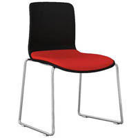 DAL ACTI CHAIR SLED BASE CHROME FRAME BLACK SHELL PINOT FABRIC SEAT PAD