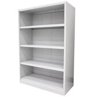 STEELCO OPEN BOOKCASE 3 SHELVES 1200 X 900 X 400MM SILVER GREY