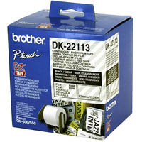 BROTHER DK-22113 CONTINUOUS FILM LABEL ROLL 62MM X 15.24M CLEAR