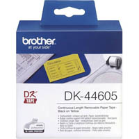 BROTHER DK-44605 REMOVABLE CONTINUOUS PAPER LABEL ROLL 62MM X 30.48MM YELLOW