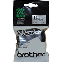 BROTHER M-931 NON LAMINATED LABELLING TAPE 12MM BLACK ON SILVER