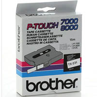 BROTHER TX-231 LAMINATED LABELLING TAPE 12MM BLACK ON WHITE