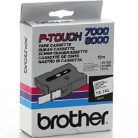 BROTHER TX-241 LAMINATED LABELLING TAPE 18MM BLACK ON WHITE