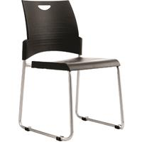 BURO PRONTO SLED VISITOR CHAIR STACKABLE LINKABLE BLACK