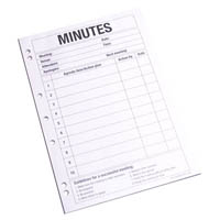 QUILL MEETING MINUTES PAD 70GSM A4 PACK 50 SHEETS