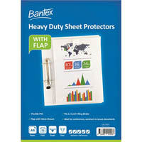 BANTEX HEAVY DUTY SHEET PROTECTORS WITH FLAP 200 MICRON A4 CLEAR PACK 10