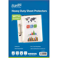 BANTEX HEAVY DUTY SHEET PROTECTORS WITH GUSSET 200 MICRON A4 CLEAR PACK 10