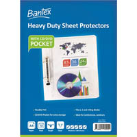 BANTEX HEAVY DUTY SHEET PROTECTORS WITH CD/DVD POCKET 200 MICRON A4 CLEAR PACK 10