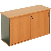 RAPID WORKER SLIDING DOOR CREDENZA 1800 X 450MM BEECH/IRONSTONE