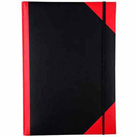 BLACK AND RED NOTEBOOK CASEBOUND RULED ELASTIC CLOSURE 200 LEAF A4